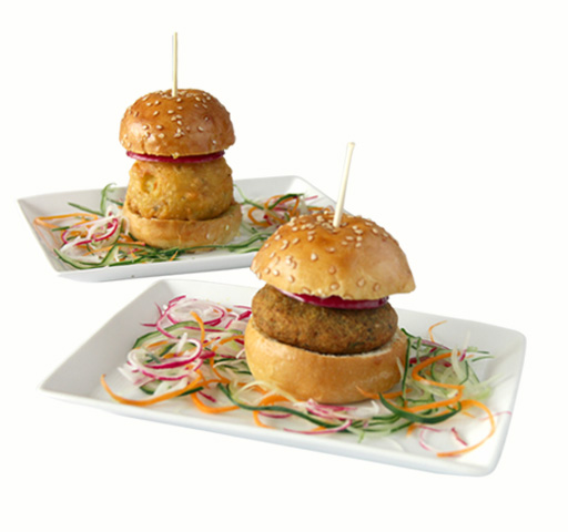 lamb and potato sliders on white background