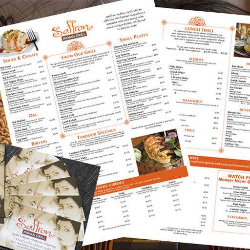 business cards and menus
